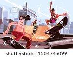modern urban skateboard park... | Shutterstock .eps vector #1504745099