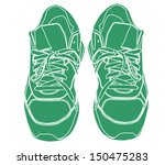 pair of green tying sports... | Shutterstock .eps vector #150475283