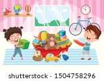 happy children playing with toys | Shutterstock .eps vector #1504758296