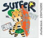 cute tiger wearing a green cap... | Shutterstock .eps vector #1504762850