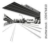 Hand Drawn Cityscape  Vector...