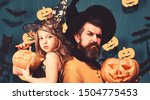 father and daughter in costumes.... | Shutterstock . vector #1504775453