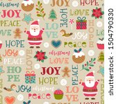 cute christmas elements and fun ... | Shutterstock .eps vector #1504790330