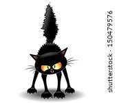 funny fierce black cat cartoon | Shutterstock .eps vector #150479576