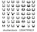 Halloween Face Icon Set. Spooky ...
