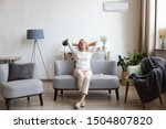 relaxed satisfied older woman...   Shutterstock . vector #1504807820