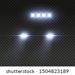 realistic car headlights. night ... | Shutterstock .eps vector #1504823189