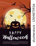 happy halloween poster.... | Shutterstock .eps vector #1504875926