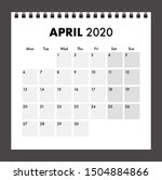 april 2020 calendar with wire... | Shutterstock .eps vector #1504884866