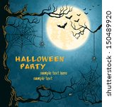 horror card for halloween. blue ... | Shutterstock .eps vector #150489920