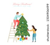 people decorating christmas... | Shutterstock .eps vector #1504906499