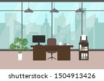 modern office  with big window  ... | Shutterstock .eps vector #1504913426