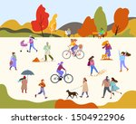 people in the autumn park... | Shutterstock .eps vector #1504922906