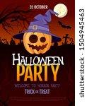 halloween disco party poster... | Shutterstock .eps vector #1504945463
