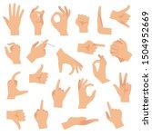 flat hand gestures. pointing...   Shutterstock . vector #1504952669