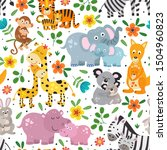 seamless pattern with cute... | Shutterstock .eps vector #1504960823