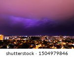 Lightning storm in brazilian city. Photo of Ribeirao Preto, Sao Paulo, Brazil.
