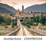 The italian borough of Bobbio and its old medieval bridge. Bobbio, Piacenza province, Emilia Romagna, Italy.