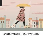 rain  walking girl  modern flat ... | Shutterstock .eps vector #1504998389