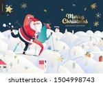 skiing santa claus   christmas... | Shutterstock .eps vector #1504998743