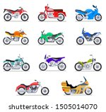 Motorcycle Set. Motorbike And...