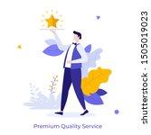waiter carrying golden shining... | Shutterstock .eps vector #1505019023