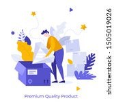 man unpacking parcel and taking ... | Shutterstock .eps vector #1505019026