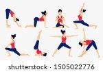various yoga poses set. female... | Shutterstock .eps vector #1505022776