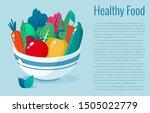 bowl full of vegetables vector...   Shutterstock .eps vector #1505022779