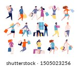 shopping characters. people in... | Shutterstock .eps vector #1505023256