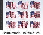 usa wavy flags set. united... | Shutterstock .eps vector #1505035226