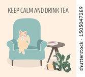 lovely cat drinking tea on blue ... | Shutterstock .eps vector #1505047289