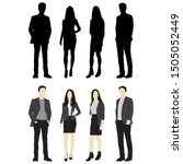 silhouettes of men and women... | Shutterstock .eps vector #1505052449