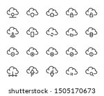 cloud line icon set. collection ... | Shutterstock .eps vector #1505170673