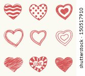 set of nine hand drawn hearts | Shutterstock .eps vector #150517910