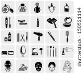 Cosmetics vector icons set on gray.