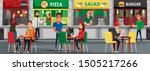 Stock vector food court cafeteria flat vector illustration happy public eatery customers and sellers cartoon 1505217266