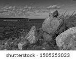 A Pile Of Large Rocks By The...