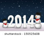 2 cute snowmen are looking to... | Shutterstock . vector #150525608