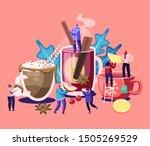 people drinking hot drinks....   Shutterstock .eps vector #1505269529