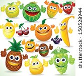 Various Funny Cartoon Fruits. Colorful Vector Clip art
