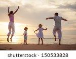 happy beautiful family dancing... | Shutterstock . vector #150533828