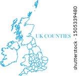 uk counties blue line map vector | Shutterstock .eps vector #1505339480