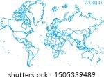 world blue line map vector | Shutterstock .eps vector #1505339489