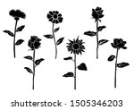 set of silhouette flowers rose  ... | Shutterstock .eps vector #1505346203