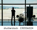 silhouette of man waiting for... | Shutterstock . vector #150536324