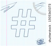 hashtag line sketch icon...