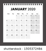 january 2020 calendar with wire ... | Shutterstock .eps vector #1505372486