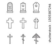 Vector Set Of Outline Cemetery...