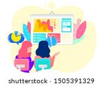 workers discussing graph report ... | Shutterstock .eps vector #1505391329